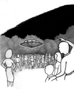 2, Beth Grd Sch plygd, saucer hovering 15 ft above crowd