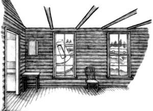 9, Sheradon cabin, craft outside windows